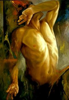 """Hand painted Original Oil painting art gay male nude on Canvas 24""""X36"""""""