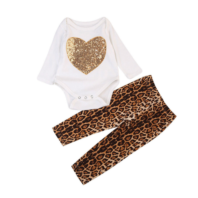 2017 Hot Sale New Fashion 2PCS Infant Baby Girls Sweet Outfits Sequins Heart Full Sleeve Jumpsuit Bodysuit Leopard Pants Trendy
