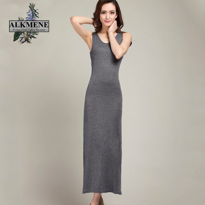 Buy Cheap ALKMENE Causal Summer Dress for Women 2017 Ankle-Length Dress Soft Wool Knit Women Dress Long Sleeveless O-neck Dress Female