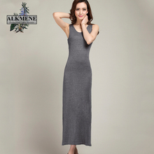 ALKMENE Causal Summer Dress for Women 2017 Ankle-Length Dress Soft Wool Knit Women Dress Long Sleeveless O-neck Dress Female