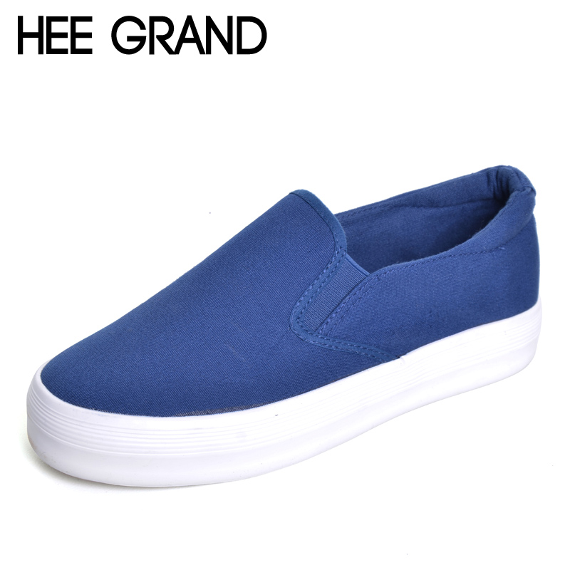 HEE GRAND Casual Platform Canvas Shoes Woman Solid Loafers Slip On Creepers Fashion Ladies Flats 4 Colors Size 35-40 XWD2756 hee grand summer gladiator sandals 2017 new platform flip flops flowers flats casual slip on shoes flat woman size 35 41 xwz3651