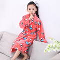 2016 New Autumn Winter Flannel Nightgown Children's Soft Pajamas Boys Girls Child Bathrobe Warm Home Wear Character Tracksuit