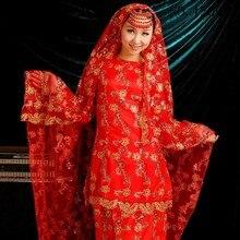 Custom Made O Neck Long Sleeve Beading Appliques Bow Belt Red Muslim Wedding Dress Hijab 2017