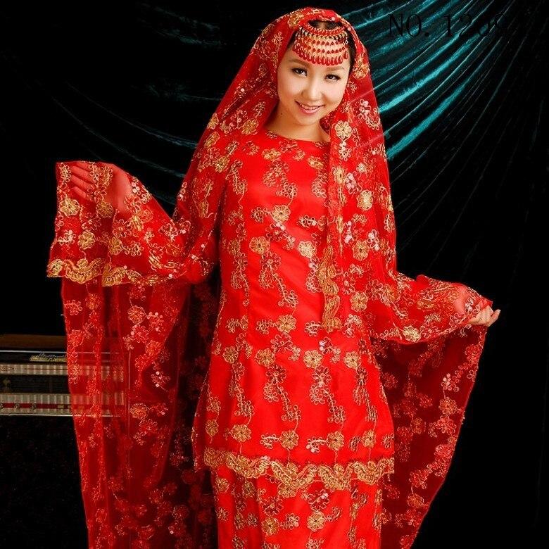 Custom Made O Neck Long Sleeve Beading Appliques Bow Belt Red Muslim Wedding Dress font b