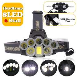 head light 140000lm LED Smuxi headlamp 7*t6 headlight 6 modes waterproof flashlight zoomable 18650 include for hunting cycling