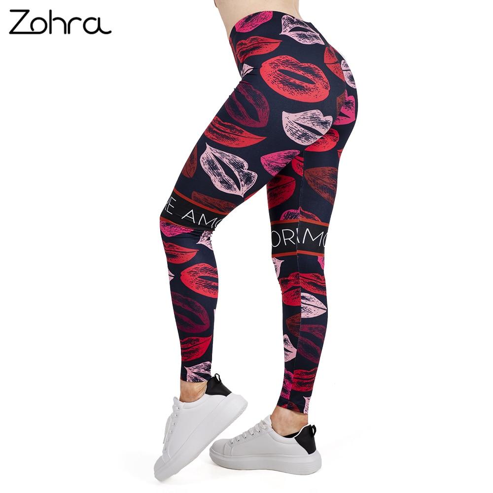 Zohra 2019 Women   Legging   LIPS Printing Leggins Slim High Elasticity Legins Popular Fitness   Leggings   Female Pants