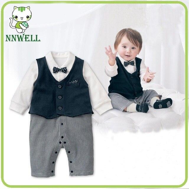 9ae625f39 NNW Gentleman Vest Baby Boy Long Sleeved Jumpsuit Romper Suit ...