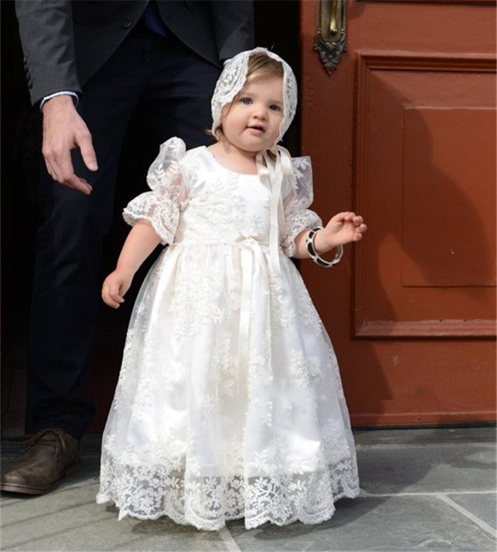 New White Lace Infant Christening Gown for Baby Girls Lace O Neck Girls Birthday Dress with Bonnet Blessing Gown with Bonnet недорго, оригинальная цена