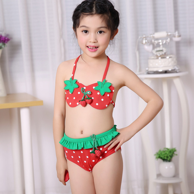 Chicas dos piezas bikini fresa dot traje de ba 241 o playa de ni 241 os ropa