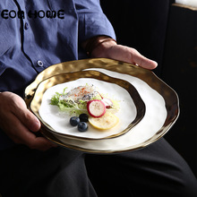 10inch Gold Inlay Dinnerware Collection Ceramic Dinner Plates with Edge Western Steak Flat White and Black Tableware
