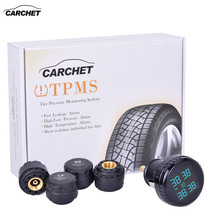 цена на CARCHET Car Tire Pressure Alarm TPMS Tire Pressure Monitoring System 0-116PSI 0-8BAR Wireless 4 Sensor with Cigarette Lighter