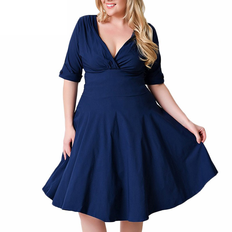 Plus Size <font><b>9XL</b></font> 8XL <font><b>7XL</b></font> <font><b>6XL</b></font> 5XL Women Summer Dress 2019 Stretch Sexy V Neck Oversize Big Size Vintage Office Work Wear Midi Dress image