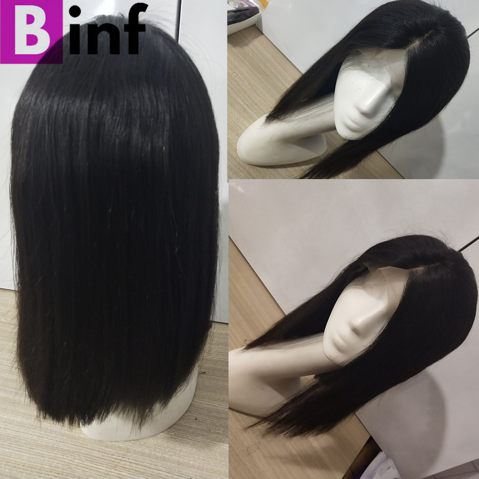 BINF Short Bob Wig Brazilian Remy Hair Straight Lace Front Human Hair Wigs 150 Density For
