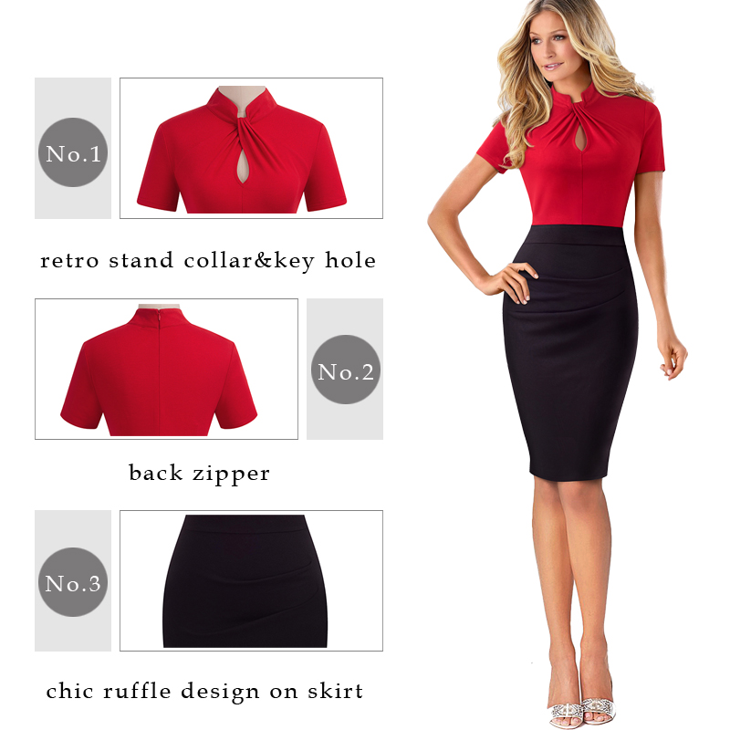 Nice-forever Vintage Contrast Color Patchwork Wear to Work Knot vestidos Bodycon Office Business Sheath Women Dress B430 2
