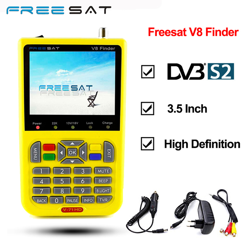 FREESAT V8 Finder Satellite Signal Finder V-71 HD DVB-S2 MPEG-2/MPEG-4 FTA Digital Satellite Finder Meter 3.5 inch LCD Display original satlink ws 6925 signal meter finder dvb t hd mpe4 h 264 finder meter terrestrial signal finder