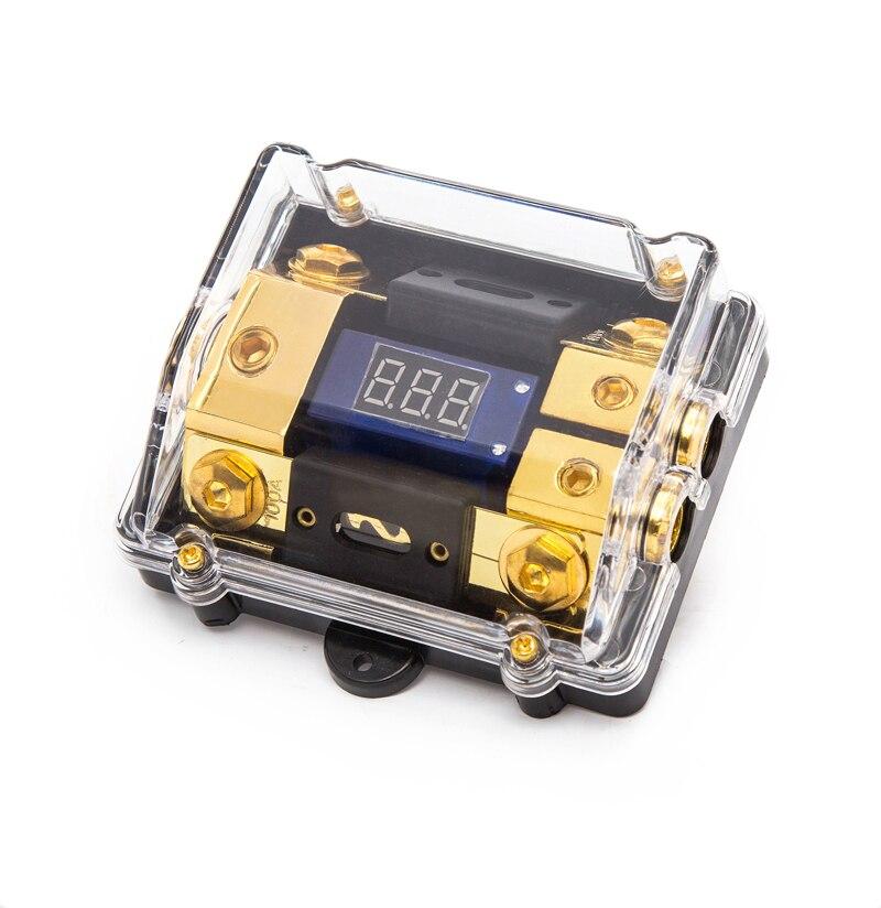 Universal Car Auto vehículos amplificador de Audio fusible caja 1 en 2 salida/1 en 1 salida fusible grifo con voltímetro fusible de Audio