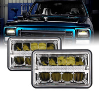 2pcs Bakuis 4x6 Square Sealed Beam 12V 24V LED Headlights Lamps H4 Bulbs 45W led truck light replacement for Ford Mustang