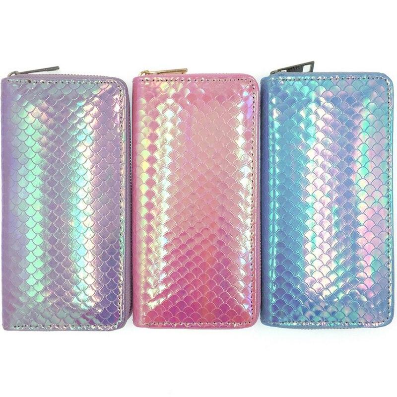 KANDRA 2019 Fashion Women Hologram Mermaid Long Wallets Coin Purse Zipper Cute Ladies Card Holders High Quality Wholesale