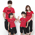 2017 New Fashion Family Look Summer Boys Girls Smile T Shirts Family Matching Clothes Mom & Dad & Son & Daughter Cute Outfits