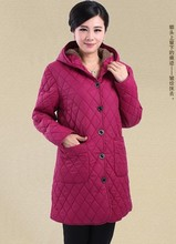 2014 middle-aged  mother coat thick winter ladies plaid cotton elderly woman 75