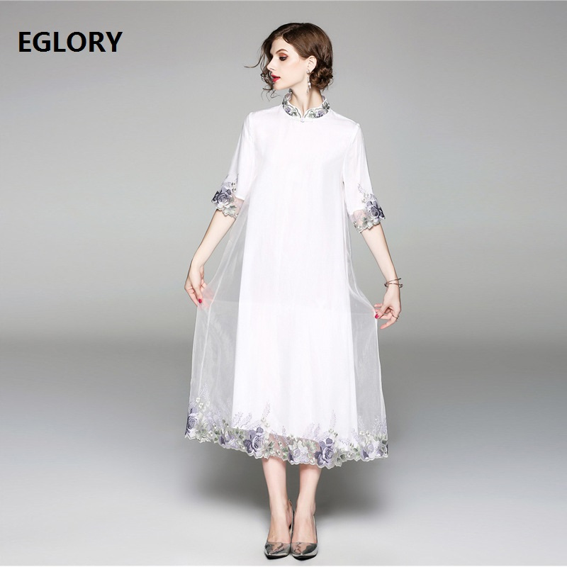 New Plus Size Dress Clothing Women Organza Embroidery 3/4 Sleeve ...