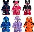 2015 Novo Bebê Menina/Menino Dos Desenhos Animados Pijama Micky Minnie Mouse Roupões Robe Crianças Macia Toalha De Banho 6 cores Trajes de Banho Livre navio