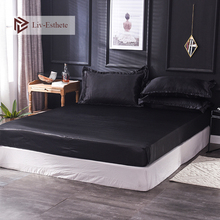 Liv-Esthete Wholesale Luxury 100% Satin Silk Black Fitted Sheet Elastic Mattress Cover Queen King Bed Sheets For Women Men 1PCS