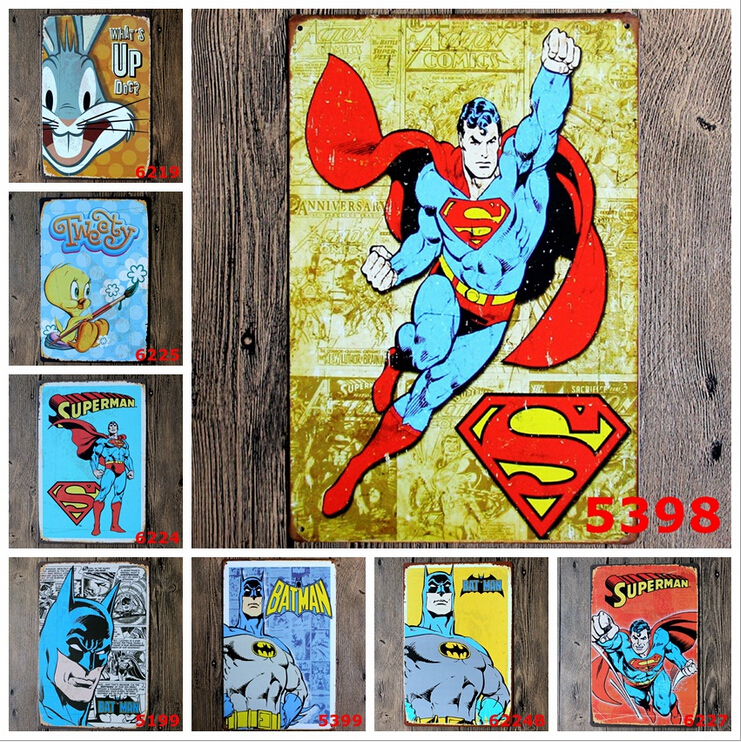 5pcslot cartoon tin signs metal plate bar pub decoration childrens bedroom wall plaque