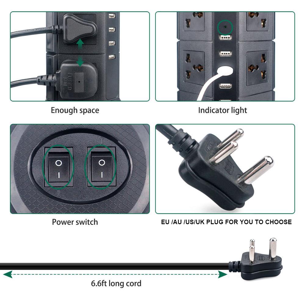 Multiprise USB prise verticale 8/12 EU