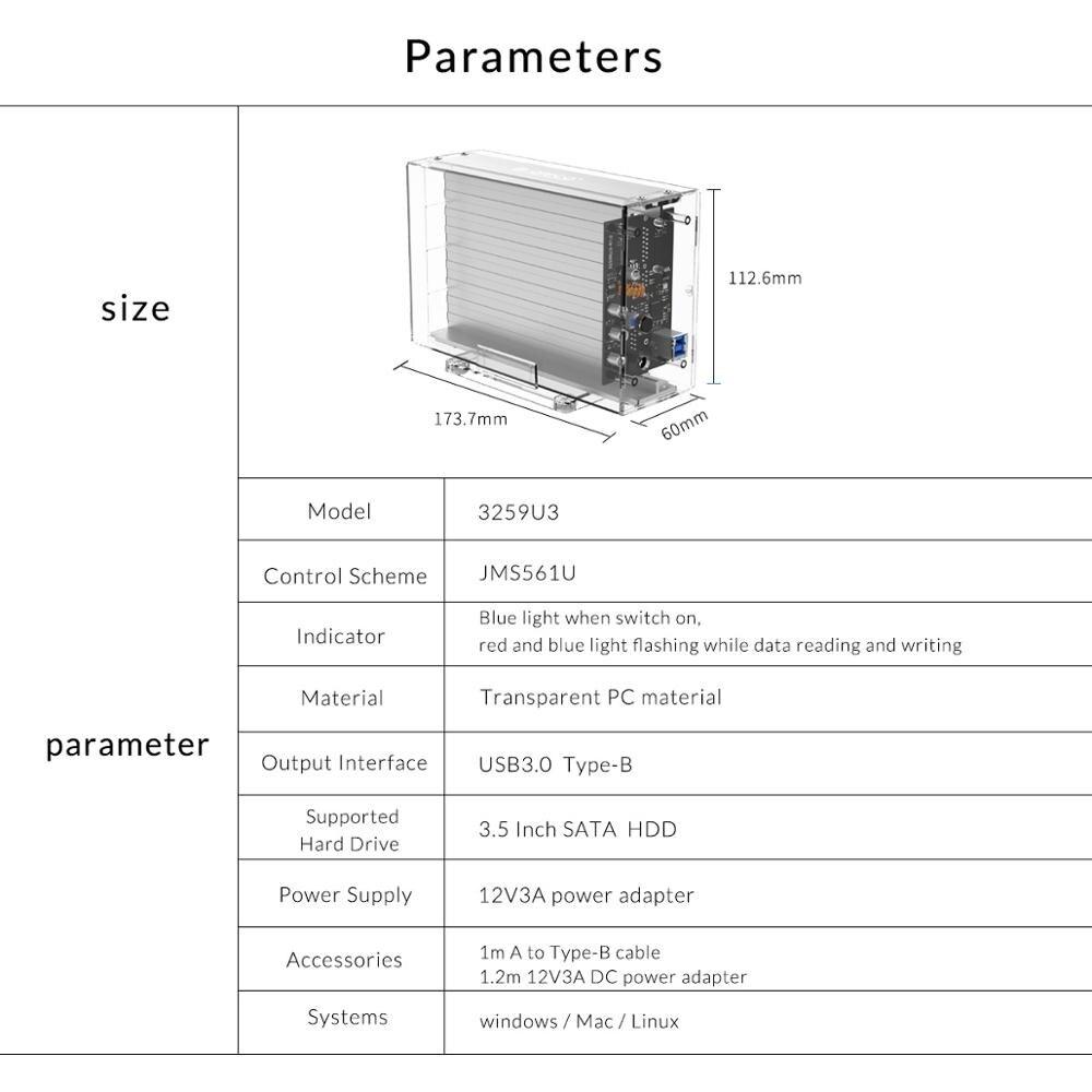 ORICO 3.5 pouces 2 baie boîtier de disque dur boîtier de disque externe Transparent SATA à USB3.0 type-b boîtier de disque dur avec adaptateur secteur 12V3A - 6