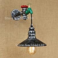 الرجعية الحديد مع التبديل Steampunk من انبوب ماء خمر جدار مخزن الغلال مصباح E27 110 V/220 V Led أضواء لغرفة النوم غرفة المعيشة بار السرير-في مصابيح الجدار الداخلي LED من مصابيح وإضاءات على