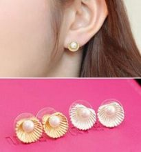 Korea Imitation Pearl Shell Earrings No Pierced Ear Earrings Simple Sweet Gift Jewelry Manufacturers, Wholesale Women(China)