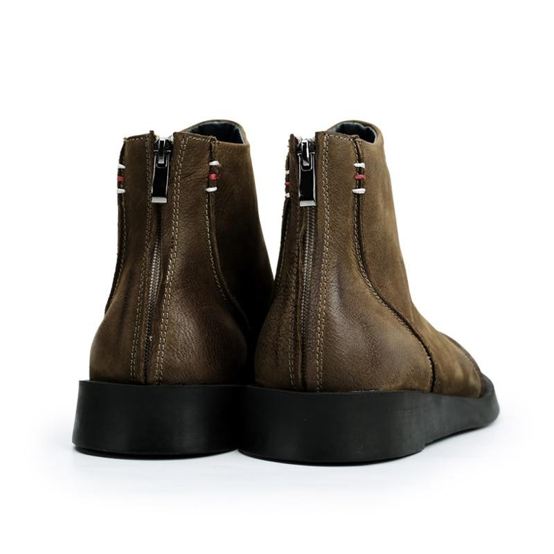 Schuhe Leder Black Arbeit 100 Khaki Echt Stil Schwarz High Ankle Stiefel Military Top Zip Britischen Vintage khaki Männer Kappe Mode Runde AxfHSvOvnW