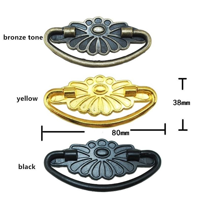 Bulk Vintage Retro Bronze Golden Black Flower Handle Tab Drawer Cabinet Jewelry Box Decorative DIY Furniture Hardware,80*38mm golden bronze sparkle