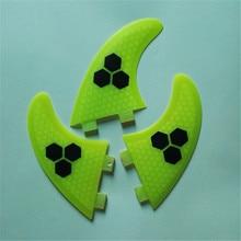 (1 set of 3 random colors) water surfboard tail rudder fishfin carbon fiber fiberglass honeycomb material