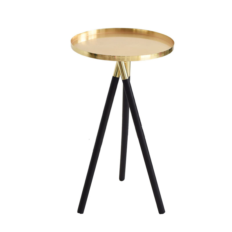 Metal Round Coffee Table Solid Wood Legs Living Room End Table Modern Side  Table