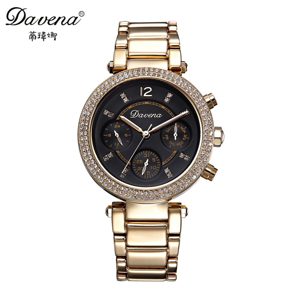 New women dress rhinestone calendar watches fashion casual quartz watch Female Steel wristwatch Luxury brand Davena 60606 clock luxury top brand guanqin watches fashion women rhinestone vintage wristwatch lady leather quartz watch female dress clock hours