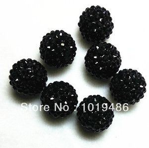 Image 1 - 20MM Black color 100pcs / lot Chunky Resin Rhinestone Beads,Bling Resin Ball Beads, Chunky Beads for Chunky Kid Necklace Jewelry