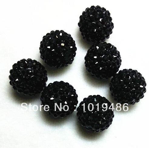 20MM Black color 100pcs / lot Chunky Resin Rhinestone Beads,Bling Resin Ball Beads, Chunky Beads for Chunky Kid Necklace Jewelry