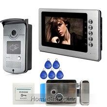 """Envío Gratis Nuevo Hogar Con Cable 7 """"Sistema de Color de Vídeo Teléfono de Puerta de Intercomunicación 1 Monitor De Metal + 1 Cámara de Acceso RFID + Cerradura Electrónica"""