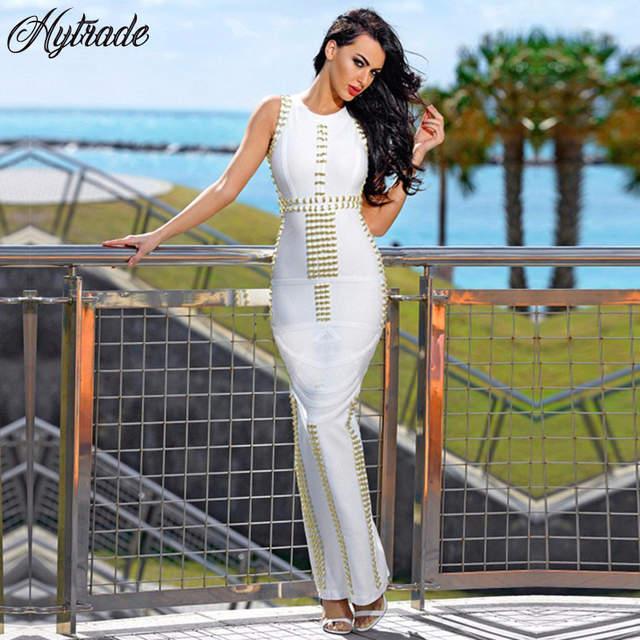 c867ecbe1cb6d Kim Kardashian White Evening Party Gown Bodycon Maxi Dress Sexy Metal  Embellished Bandage Dresses Celebrity Women Night Vestidos