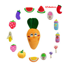 17 Styles Dog Toys Pet Puppy Chew Squeaker Squeaky Plush Sound Fruits Vegetables and Feeding Bottle Toys for Dogs