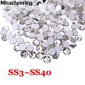 SS3-SS40 Nail Art Rhinestones Glitter Crystal Clear Non Hotfix Flat Back Stones,DIY Strass Nail Decoration Accessories