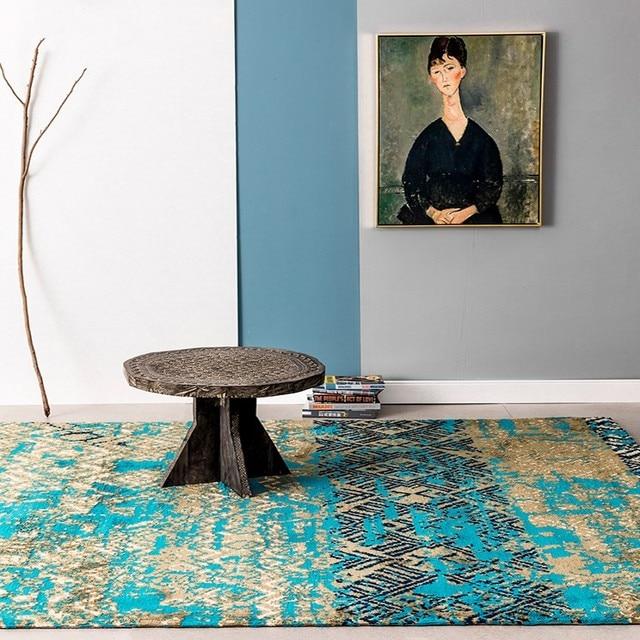 Mediterraneen Bleu Style De Mariage Tapis Bleu Grande Taille Salon