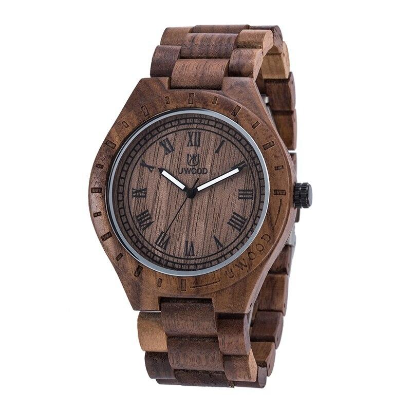 Uwood 100% Natural Black Peach Wood Quartz Wristwatch for Men Unique Gift unique natural wood sunglasses