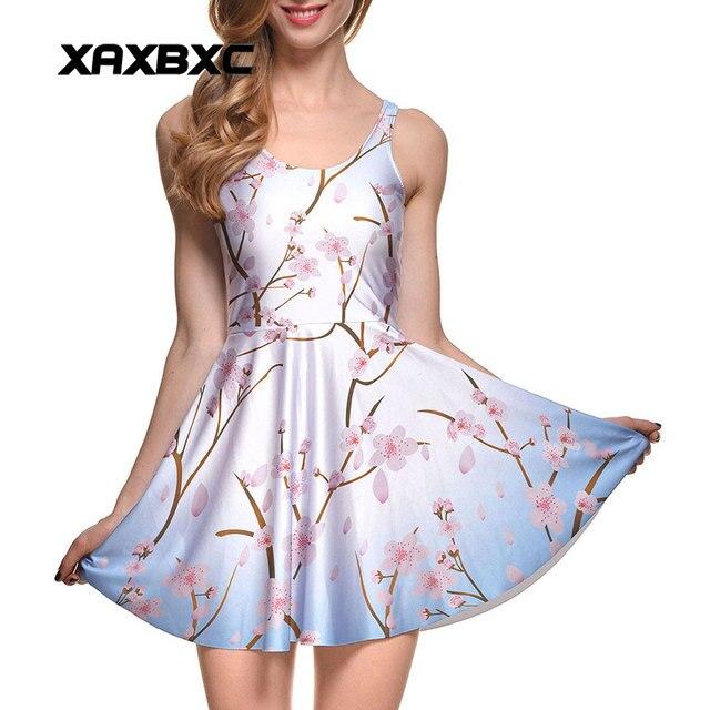4a4ed2508 XAXBXC NOVA Verão 1039 Sexy Vestido Da Menina de flor de ameixa Flor de  sakura Impressões