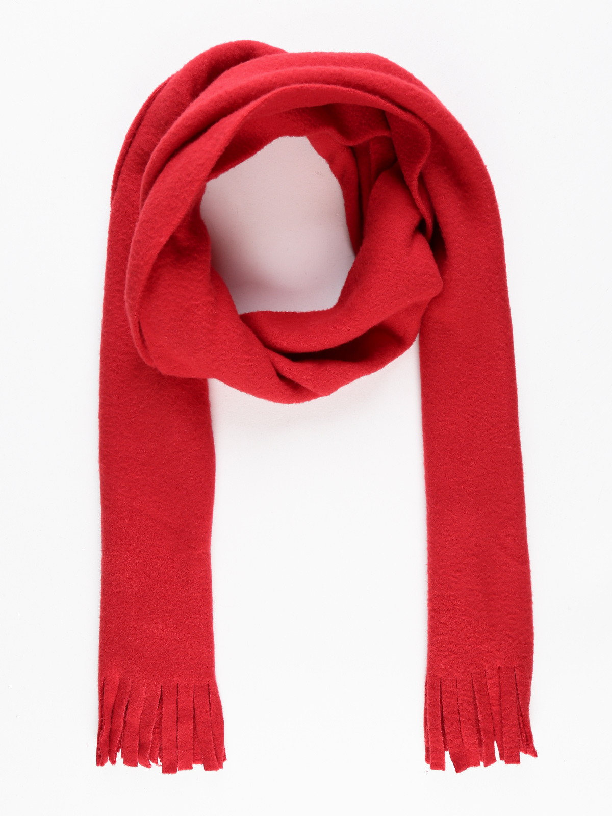 Scarf With Fringe-Red