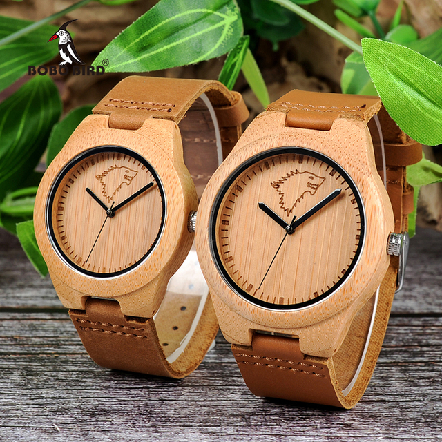 BOBO BIRD Bamboo Wood Couple Watches Quartz Movement Wolf Pattern Leather Belt W