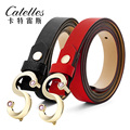 CASTELLES Fashion Belts For Women Ladies Genuine Leather Woman Designer Belt S-Shaped Buckle Rhinestones High Quality Female