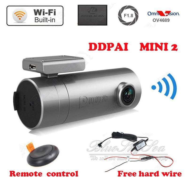 Original DDPAI Mini 2 1440P HD WIFI Car Dash cam DVR 140 Degree for Iphone,Android with Hard Wire интеллектуальный автомобильный видеорегистратор mini ddpai
